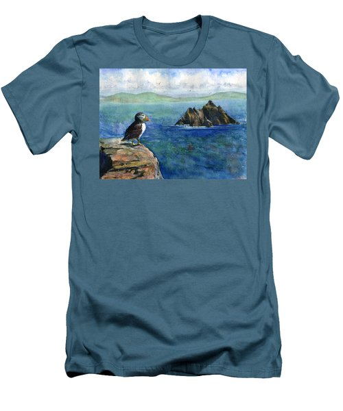 Puffin At Skellig Island Ireland Men's T-Shirt (Slim Fit) by John D Benson