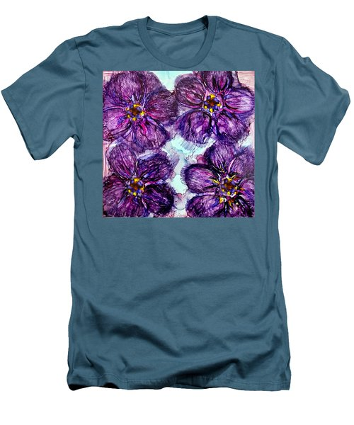 Men's T-Shirt (Slim Fit) featuring the painting Purple Daisies Alcohol Inks by Danielle  Parent