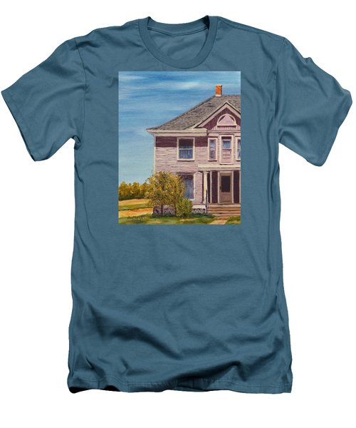 Purple House On The Prairie Men's T-Shirt (Slim Fit) by Alan Mager