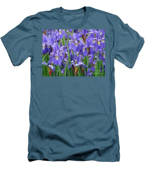 Men's T-Shirt (Slim Fit) featuring the painting Purple Iris Garden by Tim Gilliland