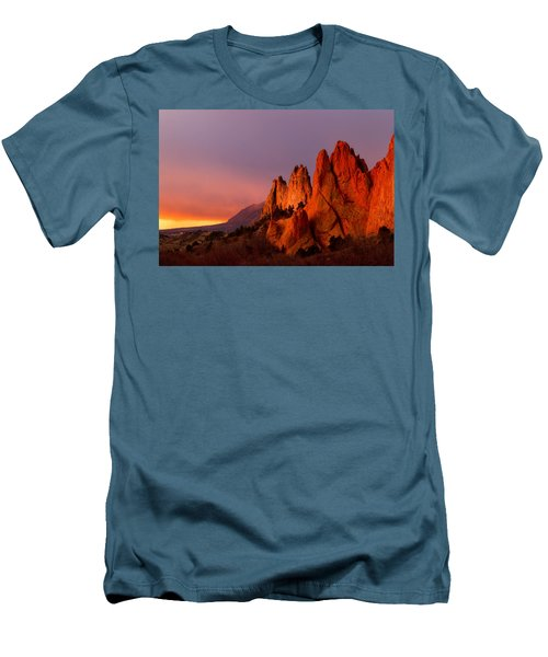 Men's T-Shirt (Slim Fit) featuring the photograph Purple Morning At Garden Of The Gods by Ronda Kimbrow
