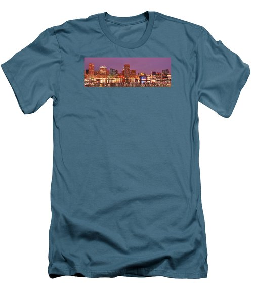 Purple Night In Baltimore Men's T-Shirt (Slim Fit) by Wayne King
