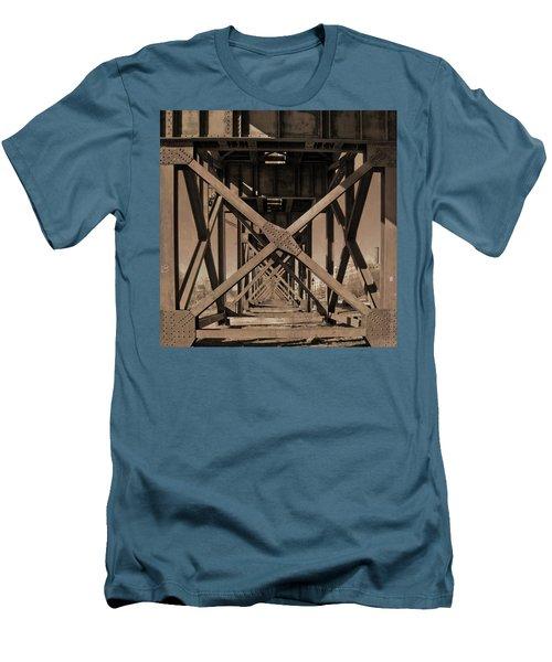 Railroad Trestle Sepia Men's T-Shirt (Athletic Fit)