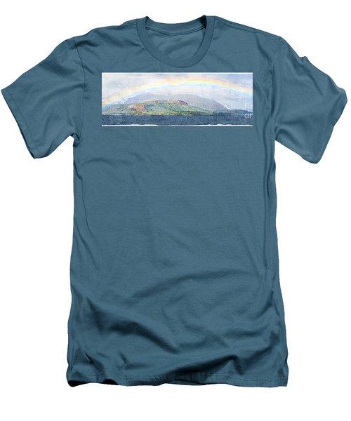 Rainbow Over The Isle Of Arran Men's T-Shirt (Slim Fit) by Liz Leyden