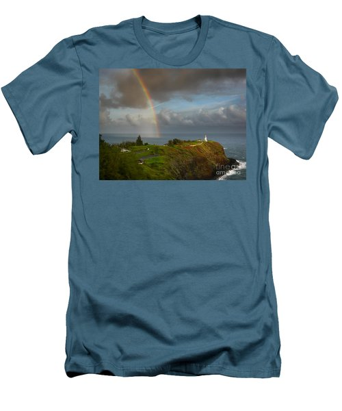 Rainbow Over Kilauea Lighthouse On Kauai Men's T-Shirt (Slim Fit) by IPics Photography