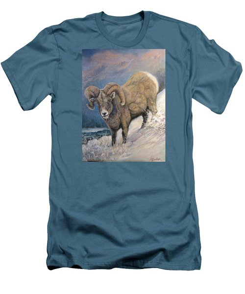Men's T-Shirt (Slim Fit) featuring the painting Ram In The Snow by Donna Tucker