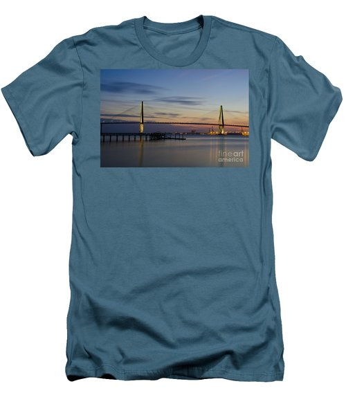 Men's T-Shirt (Slim Fit) featuring the photograph Ravenel Bridge Nightfall by Dale Powell