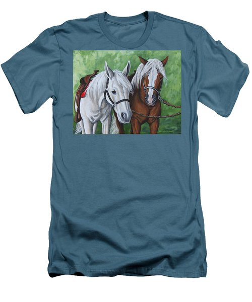 Men's T-Shirt (Slim Fit) featuring the painting Ready To Ride by Penny Birch-Williams
