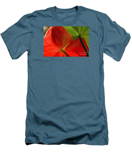 Men's T-Shirt (Slim Fit) featuring the photograph Red And Green Anthurium by Ranjini Kandasamy