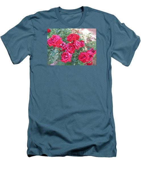 Red And Pink Roses Men's T-Shirt (Slim Fit) by Chrisann Ellis