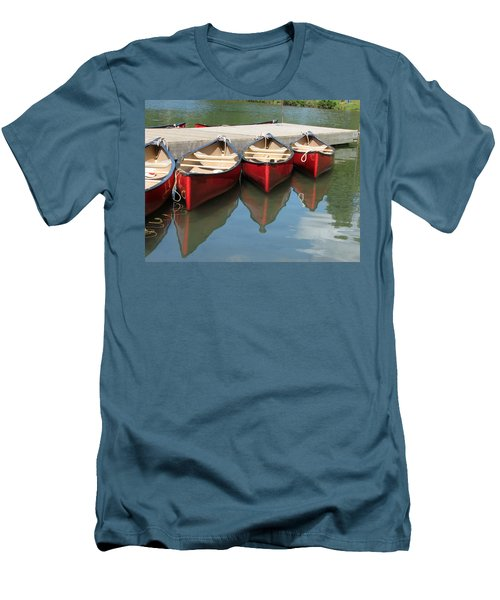 Red Canoes Men's T-Shirt (Slim Fit) by Marcia Socolik