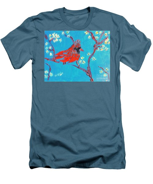 Men's T-Shirt (Slim Fit) featuring the painting Red Cardinal Spring by Richard W Linford