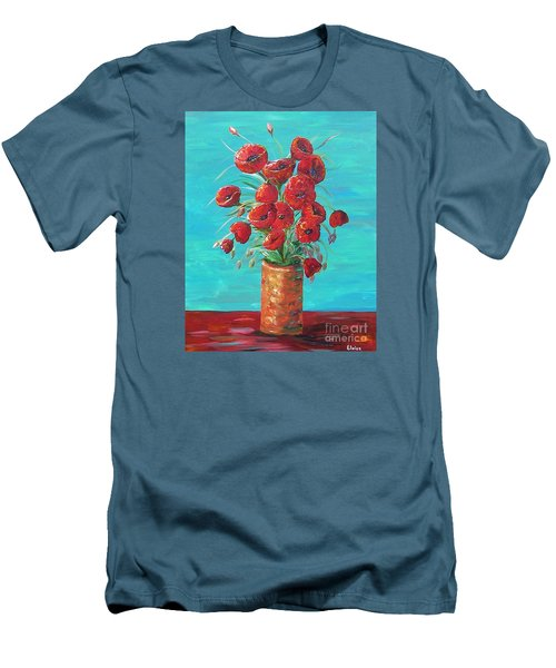 Men's T-Shirt (Slim Fit) featuring the painting Red On My Table  by Eloise Schneider