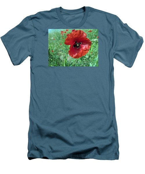 Men's T-Shirt (Slim Fit) featuring the photograph Red Poppy by Vesna Martinjak
