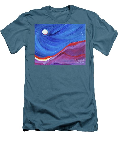 Men's T-Shirt (Slim Fit) featuring the painting Red Ridge By Jrr by First Star Art