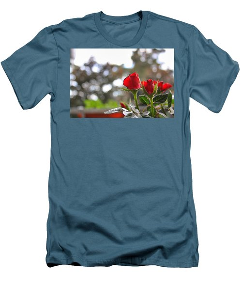 Red Roses Men's T-Shirt (Slim Fit) by Daniel Precht