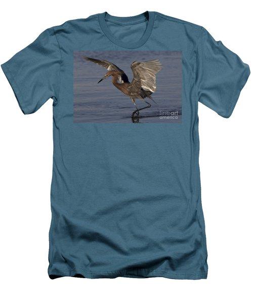Reddish Egret Fishing Men's T-Shirt (Slim Fit) by Meg Rousher