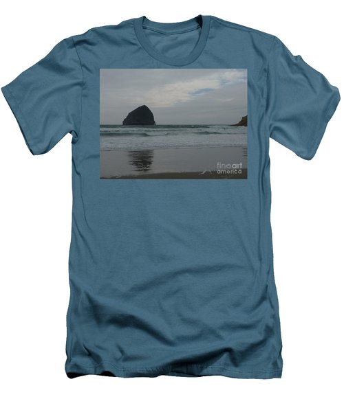 Reflection Of Haystock Rock  Men's T-Shirt (Slim Fit) by Susan Garren