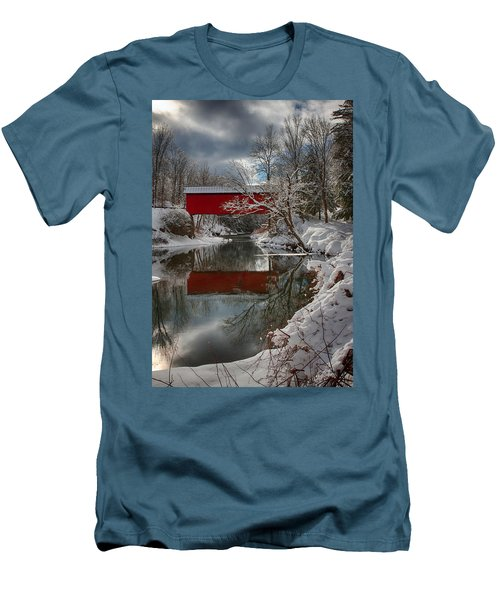 reflection of Slaughterhouse covered bridge Men's T-Shirt (Slim Fit) by Jeff Folger