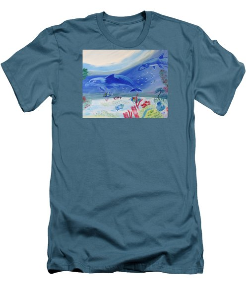 Men's T-Shirt (Slim Fit) featuring the painting Rhythm Of The Sea by Meryl Goudey