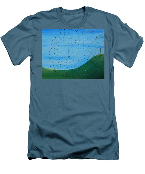 Men's T-Shirt (Slim Fit) featuring the painting Ripples Of Life 2 by Tim Mullaney