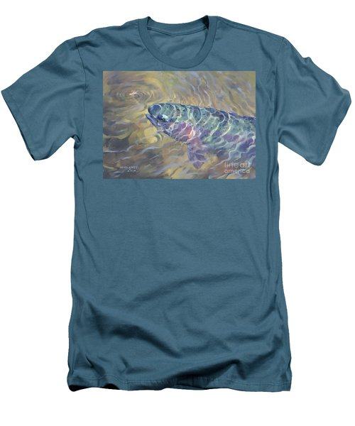 Men's T-Shirt (Slim Fit) featuring the painting  Rainbow Rising by Rob Corsetti