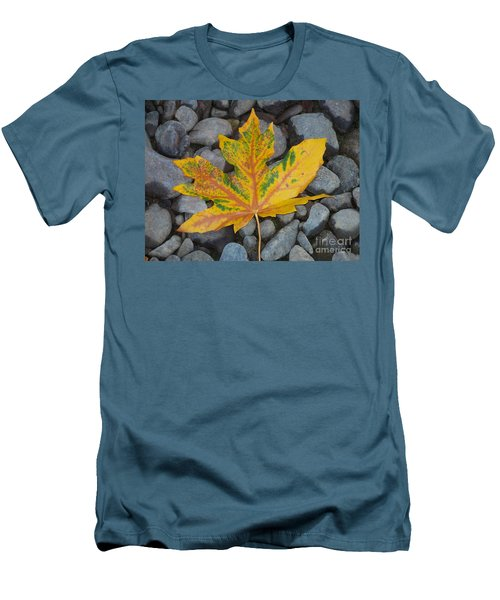 Men's T-Shirt (Slim Fit) featuring the photograph Rock Creek Leaf by Chalet Roome-Rigdon