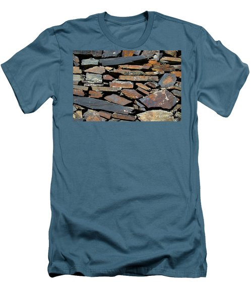 Men's T-Shirt (Slim Fit) featuring the photograph Rock Wall Of Slate by Bill Gabbert