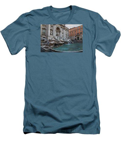 Rome's Fabulous Fountains - Trevi Fountain - No Tourists Men's T-Shirt (Slim Fit) by Georgia Mizuleva