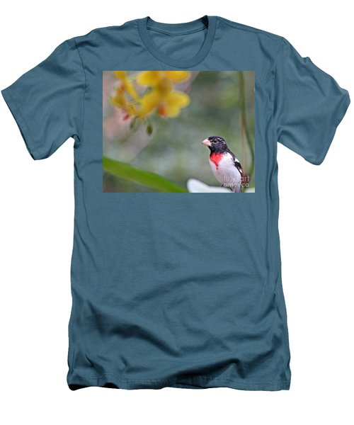 Men's T-Shirt (Slim Fit) featuring the photograph Rose Breasted Grosbeak Photo by Luana K Perez