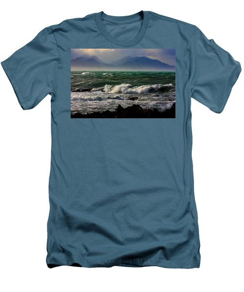 Men's T-Shirt (Slim Fit) featuring the photograph Rough Seas Kaikoura New Zealand by Amanda Stadther