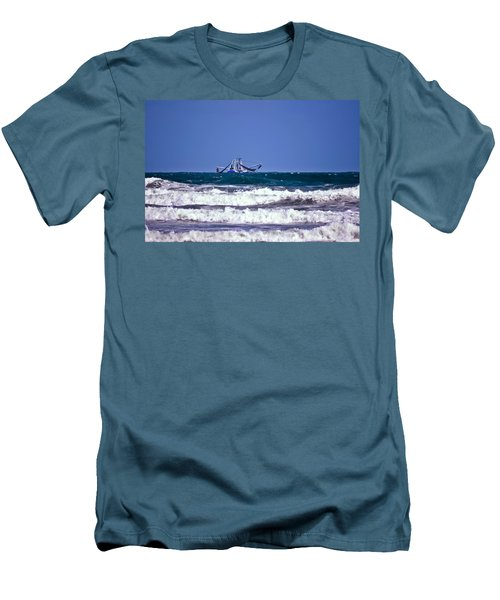 Men's T-Shirt (Slim Fit) featuring the photograph Rough Seas Shrimping by DigiArt Diaries by Vicky B Fuller