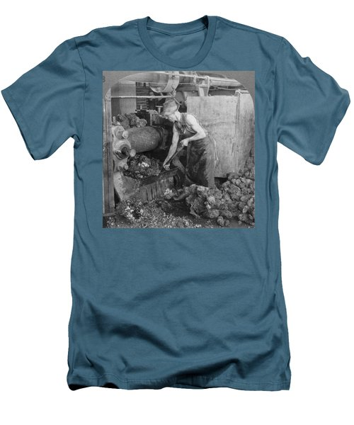 Men's T-Shirt (Slim Fit) featuring the painting Rubber Production, C1928 by Granger