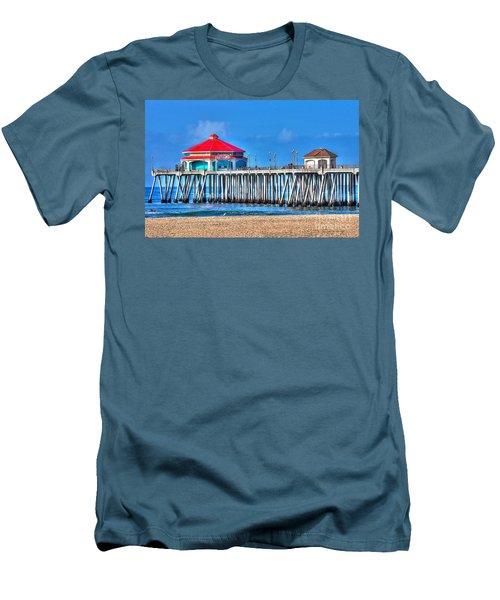 Ruby's Surf City Diner - Huntington Beach Pier Men's T-Shirt (Slim Fit) by Jim Carrell