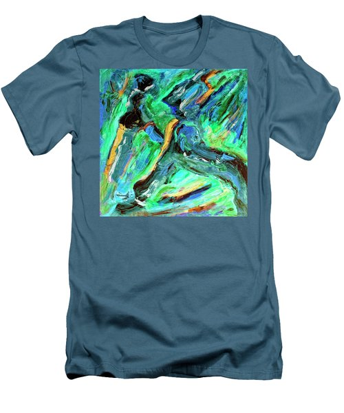 Men's T-Shirt (Slim Fit) featuring the painting Runners by Dominic Piperata