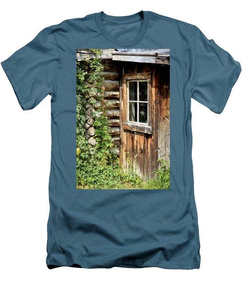 Rustic Cabin Window Men's T-Shirt (Slim Fit) by Athena Mckinzie