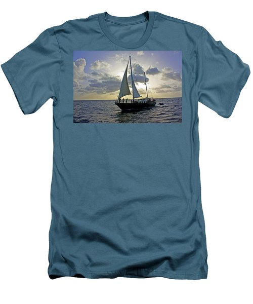 Sailing In Aruba Men's T-Shirt (Slim Fit) by Suzanne Stout