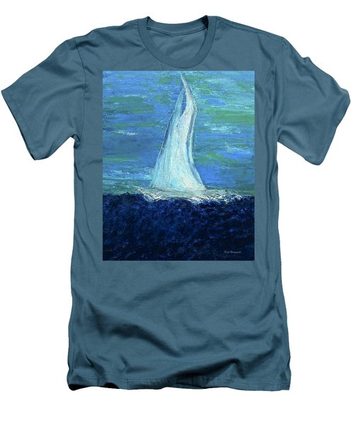 Sailing On The Blue Men's T-Shirt (Slim Fit) by Dick Bourgault