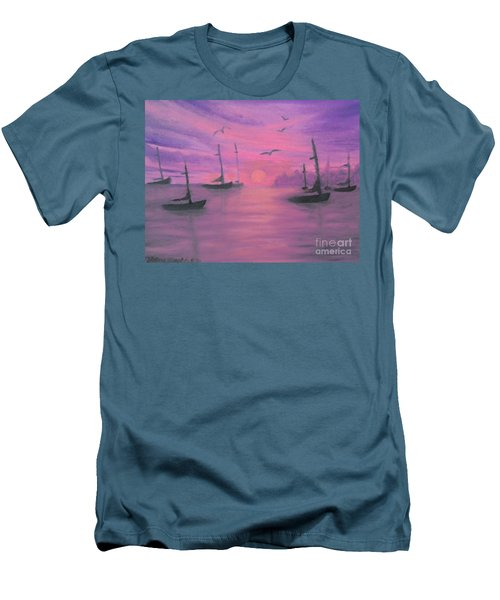 Sails At Dusk Men's T-Shirt (Slim Fit) by Holly Martinson