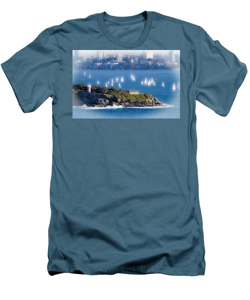 Men's T-Shirt (Slim Fit) featuring the photograph Sails Out To Play by Miroslava Jurcik