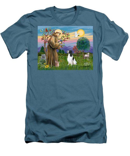 Saint Francis Blesses An English Springer Spaniel Men's T-Shirt (Athletic Fit)