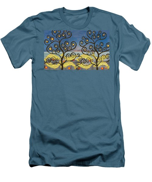 Men's T-Shirt (Slim Fit) featuring the digital art Salmon Dance Blue by Kim Prowse