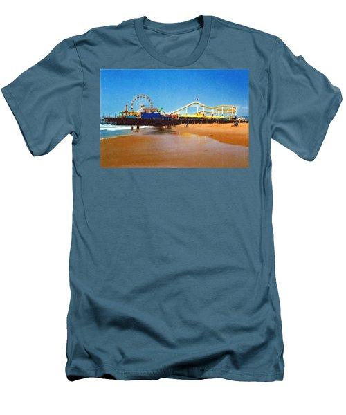 Men's T-Shirt (Slim Fit) featuring the photograph Sana Monica Pier by Daniel Thompson
