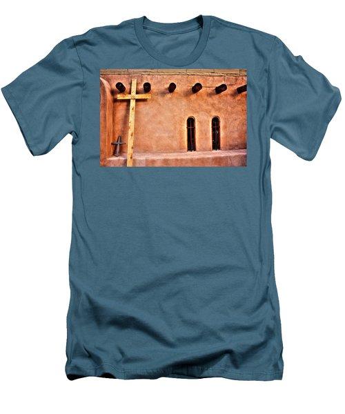 Santuario Four Crosses Men's T-Shirt (Slim Fit) by Lanita Williams
