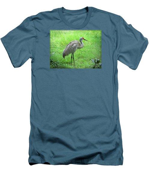 Men's T-Shirt (Slim Fit) featuring the photograph Sandhill Crane - Bird Photography by Ella Kaye Dickey