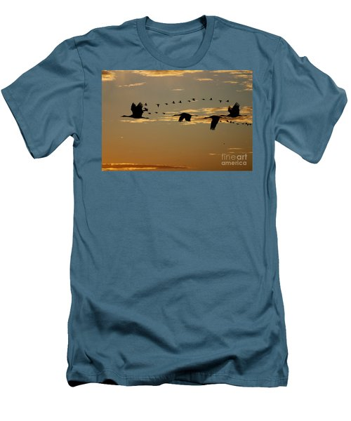 Sandhill Cranes At Sunset Men's T-Shirt (Athletic Fit)