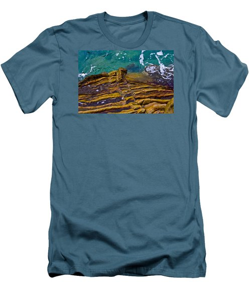 Men's T-Shirt (Slim Fit) featuring the photograph Sandstone Ribs by Adria Trail