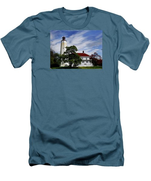 Sandy Hook Lighthouse Nj Men's T-Shirt (Slim Fit) by Skip Willits