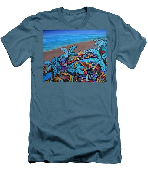 Santa Barbara Beach Men's T-Shirt (Slim Fit) by Barbara St Jean