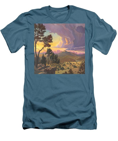 Men's T-Shirt (Slim Fit) featuring the painting Santa Fe Baldy - Detail by Art James West